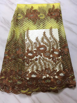 Yellow African French Lace Fabric 2018 High Quality Nigerian French Net Lace Handmade With Nice Stones For Women Dress PF148-2