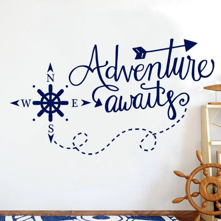 Adventure Awaits Wall Decals Nautical Comp Nursery Boys Decor Art Home Decorations Bathroom Kdis Room Sticker Ay1719 In Stickers From