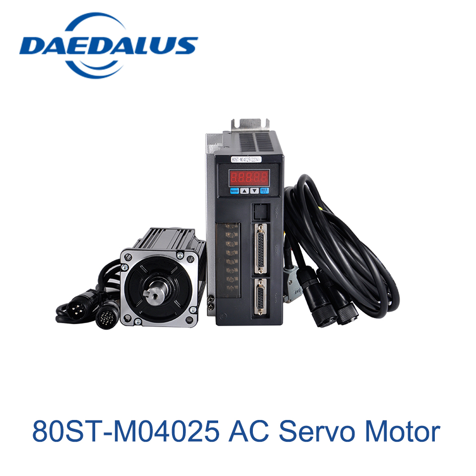 Servo Motor 80ST-M04025 AC Motor 220V 1KW 4N.M 2500RPM 1000W AC Drive Permanent Magnet Matched Driver 2 sets ac servo motor 4n m 1000w with driver and cable 80st m04025