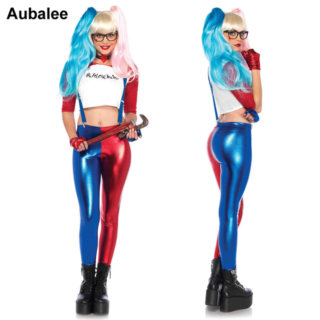 25b2472f532 Harley Quinn Jester Fancy Dress Sexy Harley Quinn Shirt Leggnings Glove DC  Movie Superhero Cosplay Women Party Halloween Costume