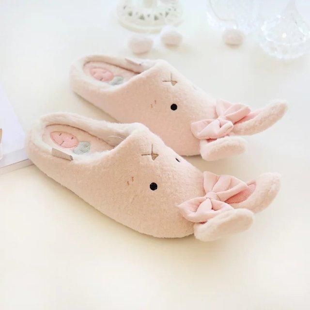Перевозка груза падения мода зима мило с длинными уха кролика бабочкой женщин на дому в помещении этаж тапочки для взрослых мокасины обувь мягкие тапочки