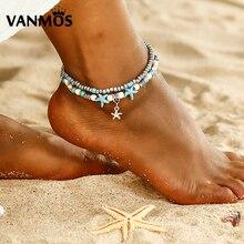 Vanmos Bohemia Vintage Starfish Beads Anklets for Women Girls Summer Beach Wave Handmade Leg Barefoot Ankle Bracelets