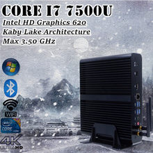 Mini PC Intel Core i7 7500U Win10 sans ventilateur 3.5 GHz Intel HD Graphics 620 4 K TV Box HTPC DDR4 Ram(China)