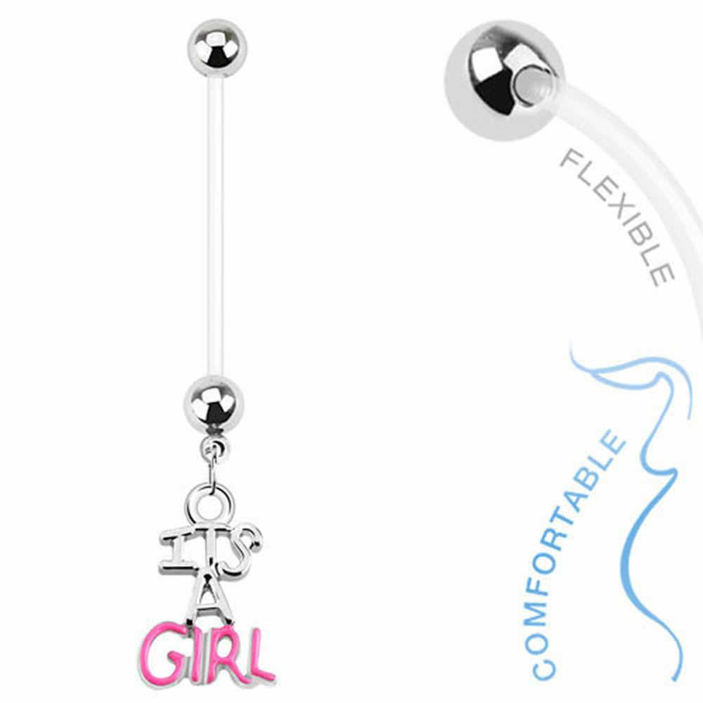 1pc ילד ילדה גמיש בטן טבעת הריון Marternity בר פירסינג תכשיטי 14G