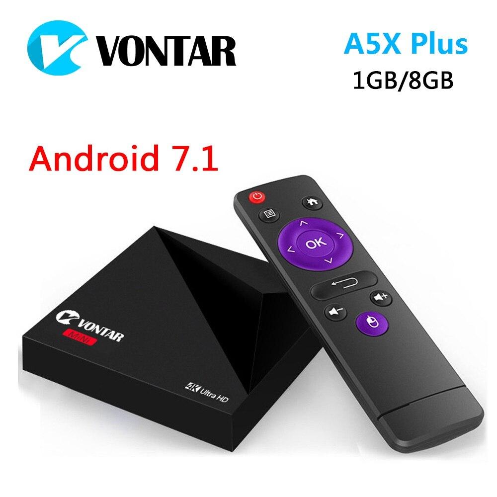 Prix pour Mini android 7.1 vontar a5x plus rk3328 rockchip tv box 1 gb 8 gb 2.4G WIFI 100 M LAN HD2.0 USB3.0 4 K VP9 H.265 HDR10 Media Player