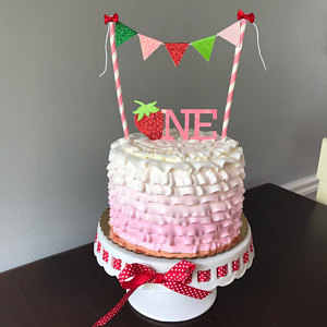 Astounding Personalized Strawberry Girl Birthday Cake Buntings Cupcake Birthday Cards Printable Benkemecafe Filternl