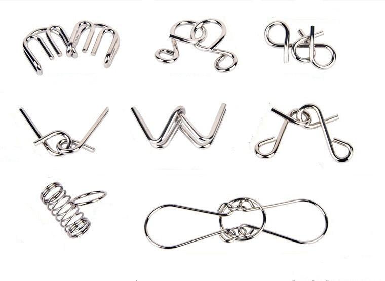 Sett med 8PCS Classic Metal Wire Disentanglement Puslespill IQ - Puslespill - Bilde 4
