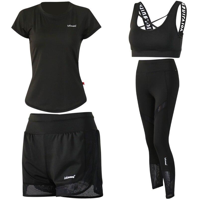 4 en 1 ensemble de Yoga Fitness femmes noir Yoga soutien-gorge et Shorts et T-Shirts vêtements de Sport vêtements de Sport costume d'entraînement course en plein air Jogging