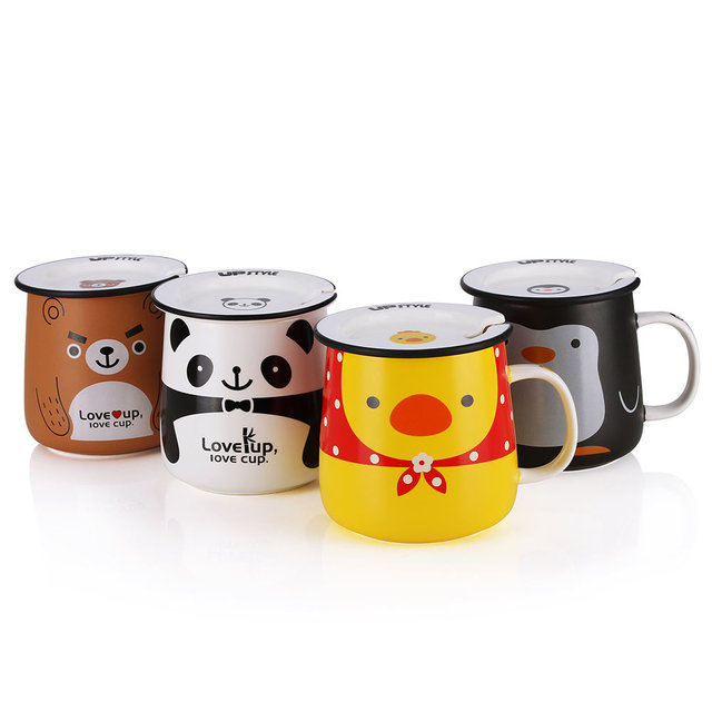 Upstyle Cute Coffee Mug Animal Pattern Ceramic Cup Travel With Lid And Handle For