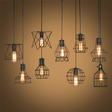 Retro Lamp Shades Industry Metal Pendant Lamps Holder Vintage Style Iron Hanging Light Shade Edison Bulb Covers Drop Shipping
