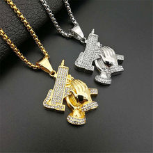 UZI GUN Shape Pendant Necklace For Men Hip Hop Iced Out Jewelry Gold/Silver Color Stainless Steel Army Style Male Chain Necklace(China)