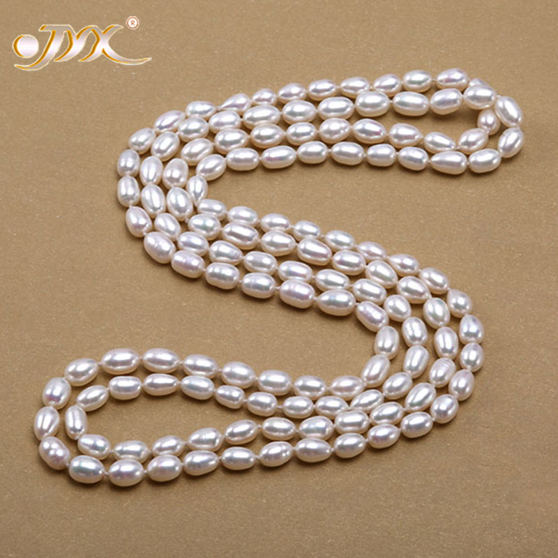 купить JYX Pearl Necklace Long Real White Oval Cultured Freshwater Pearl Long Necklace Women Classic Chain Necklace Girl 48