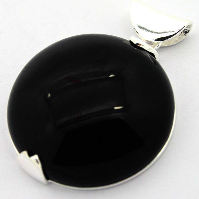 หรูหรา 925 สเตอร์ลิงเงิน 35*35 มิลลิเมตรสีดำ Roundle จี้สำหรับของขวัญ