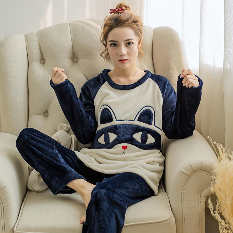 Flannel Winter Women Warm Printing Cartoon Black Cat Pajamas with Long Sleeve Long Pant O Neck Large Size Home Wear Suit