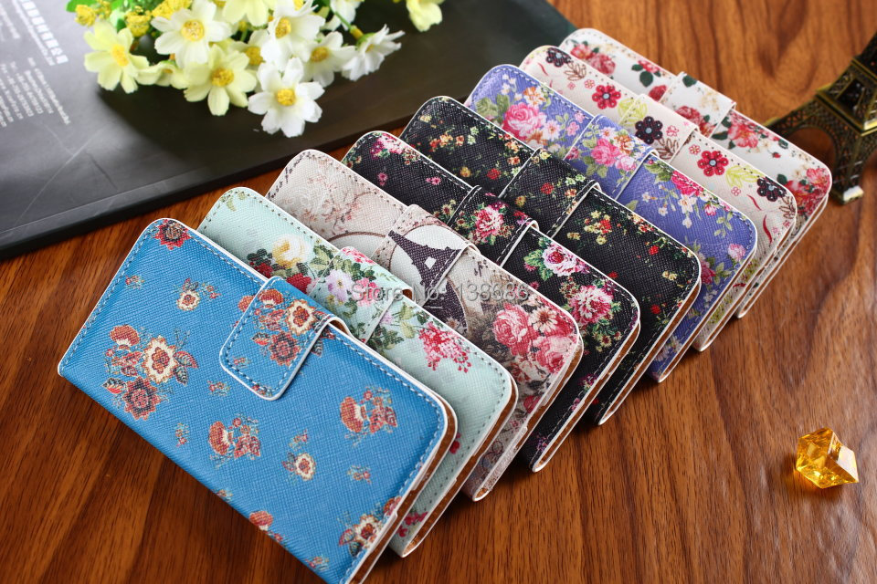 1 Leather Magnetic Design Stand Wallet,Card Sots+Money Slot Hard Cover Flip Case Samsung Galaxy S4 mini i9190 Flower - Shenzhen LX Technology Co., Ltd. store