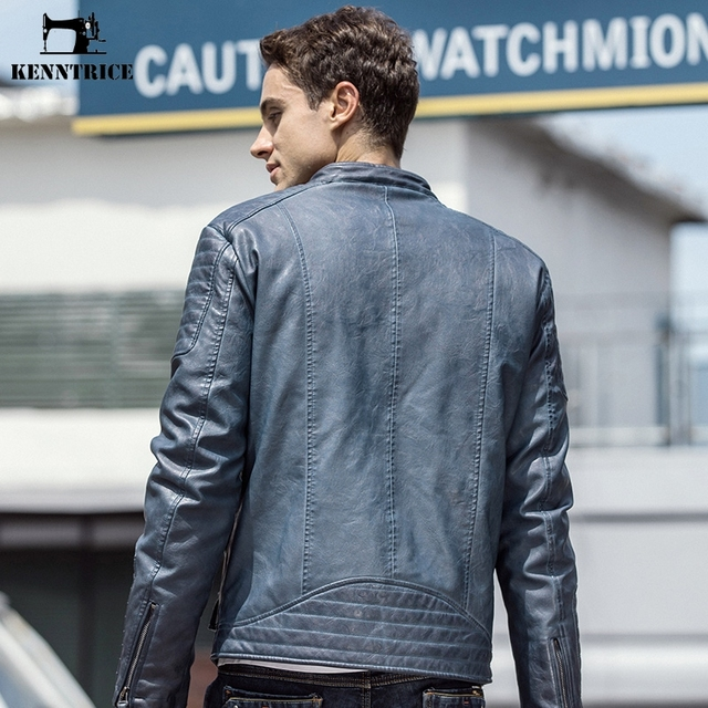KENNTRICE Men Autumn Leather Jacket Vintage Motorcycle Jacket Slim Stand Collar Business Faux Leather Coat Men