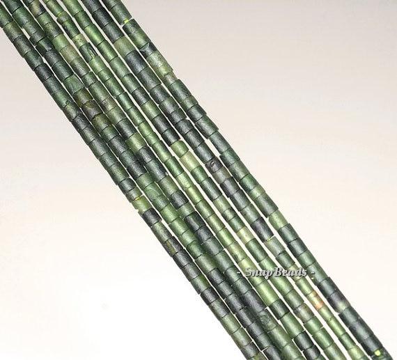 2 мм зеленый драгоценный камень нефрит зеленый трубки 2 мм свободные Бусины 14 дюймов Full Strand (90143409-b9-a)