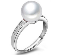 Women Gift word 925 Sterling silver real Exquisite classic 3 color 8 9MM natural freshwater pearl ring with 925 Silver