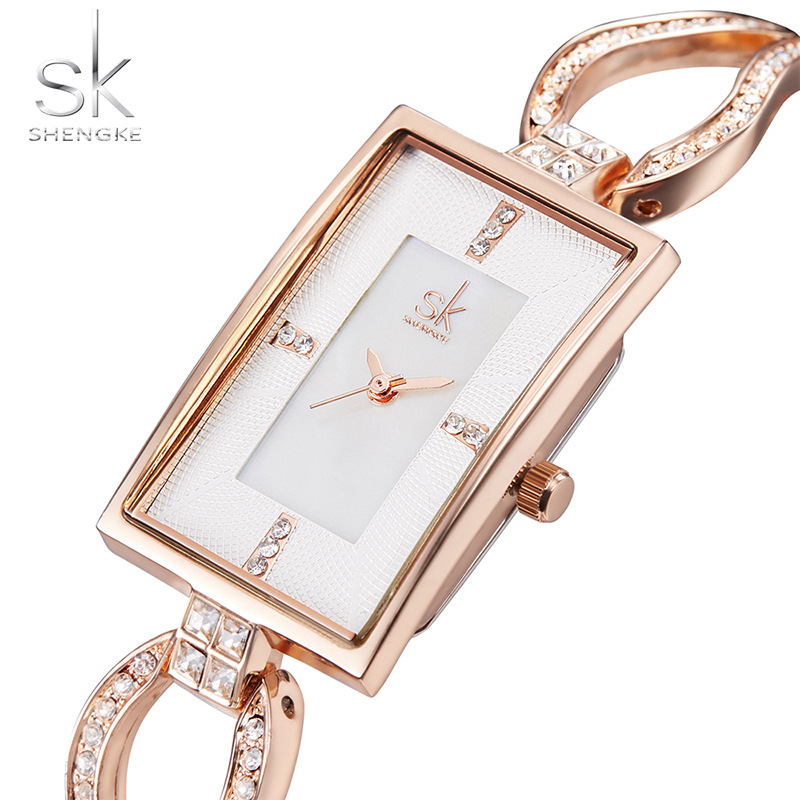 SK New Women's Fashion Diamond Armbandsur Top Luxury Brand Square - Damklockor - Foto 6