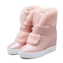 Warm faux fur wasserdichte stiefel schnee frauen winter fashion damen stiefeletten big size weiß beige rosa farbe dropshipping