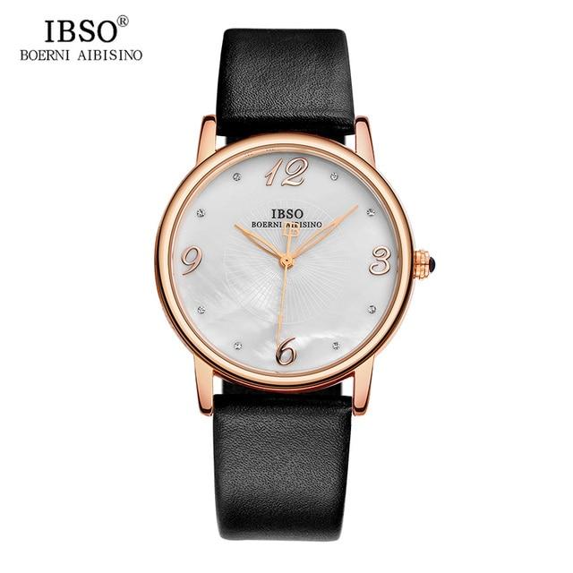 Ibso 7.8 мм ультра-тонкие женские часы 2018 Мода Shell кварцевые часы женские ремень из натуральной кожи женские часы montre Femme