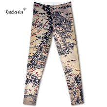 Hot new sexy digital printing women leggings fashion lord of the rings map pant capris soft fitness plus size drop shipping