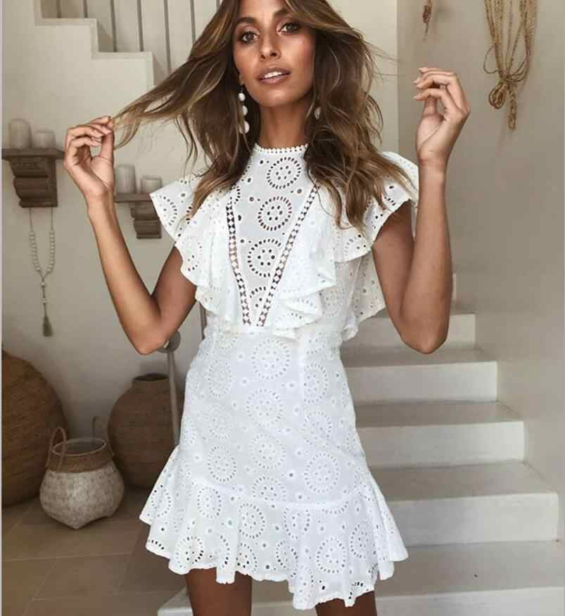 204a440f88edf ... New women's dress sexy lace openwork embroidery stitching sleeveless  ruffled open back dress summer party white ...