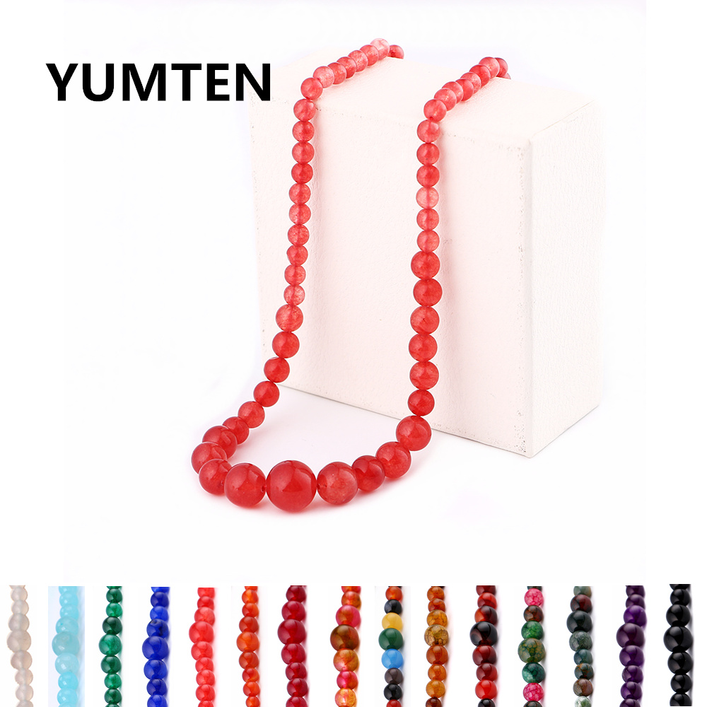 Fashion Retro Lady Red Jade Beads Necklace Jewelry Natural Stone Woman Dress Exquisite Crystal Necklaces Rauchtopaz Gift Dendy in Necklaces from Jewelry Accessories