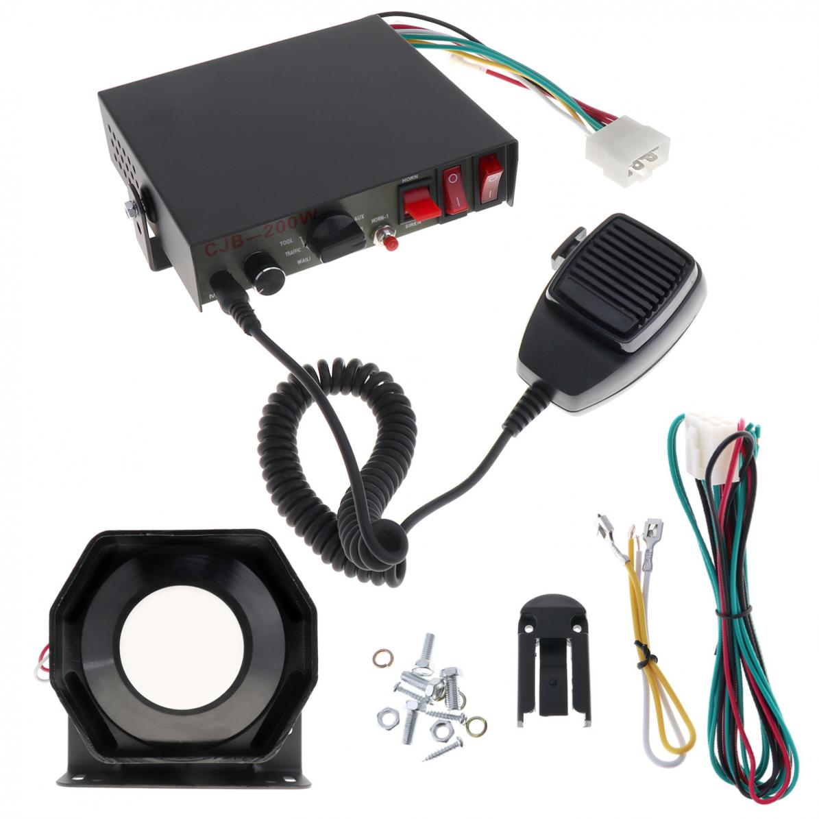 Universal 200W 12V 8 Sound Speaker Car Warning Alarm Police Fire Siren Horn PA with MIC System