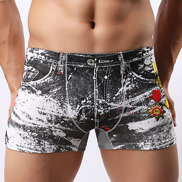 3D Print Mens Boxer Shorts Jeans Underwear Brand Sexy Fashion Male panties Low-waisted Man Boxer Underpants Male panties