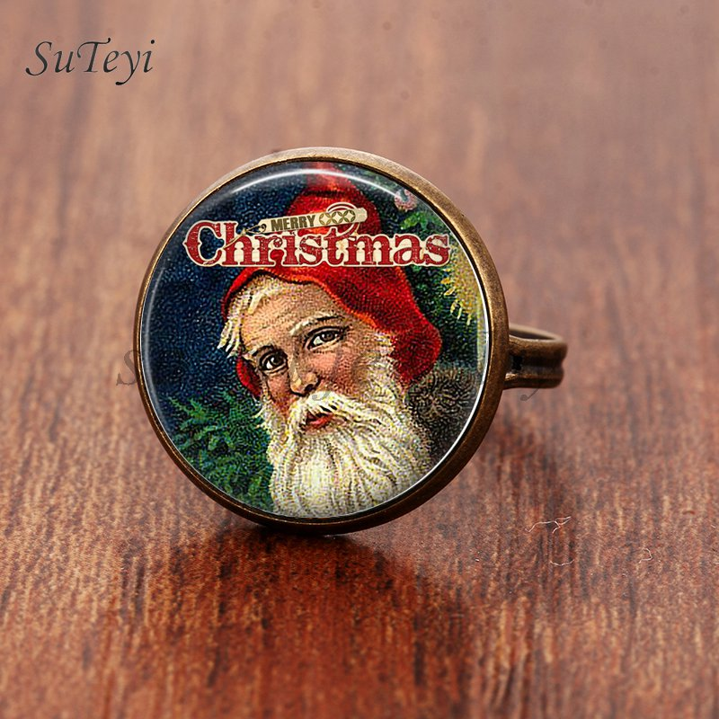 SUTEYI Christmas Eve Santa Claus Glass Rings Dome Exquisite Men Women Jewelry Cute Christmas Tree Ring New Year Gifts ...