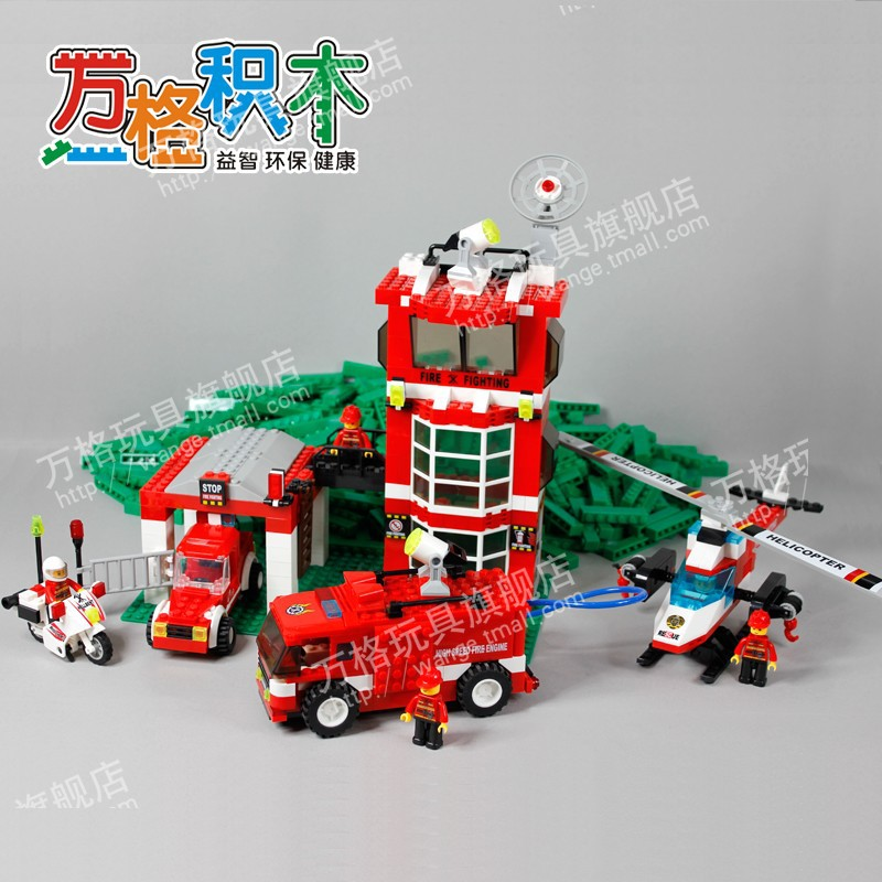Model building kits compatible with font b lego b font city fire brigade 3D blocks Educational