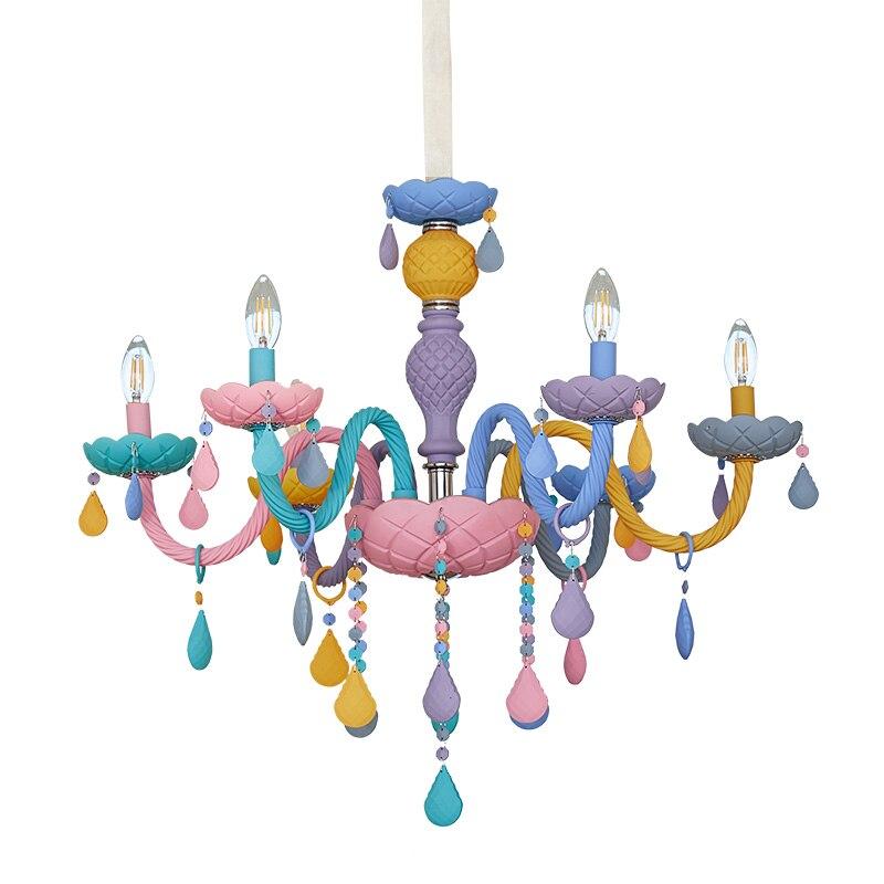 Arc-en-ciel cristal lustre européen bougie lustres Restaurant chambre d'enfants chambre américaine fille princesse Makaron lampes