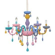 Gökkuşağı Kristal Avize Avrupa Mum cilalar Restoran Yatak Odası çocuk Odası Amerikan Kız Prenses Makaron Lambaları