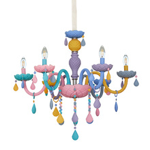 Rainbow Crystal Chandelier European Candle lustres Restaurant Bedroom Childrens Room American Girl Princess Makaron Lamps