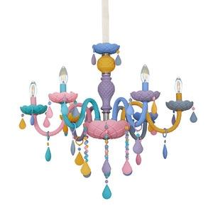 Rainbow Crystal Chandelier European Candle lustres Restaurant Bedroom Children's Room American Girl Princess Makaron Lamps(China)