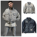 Vintage Ripped Denim Jacket Mens 2017 Kanye West Patchwork Distressing Throughout Coats