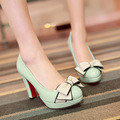 vintage style woman small bowtie platform women's pumps lady's sexy high heels shoes woman Big size 34  -43
