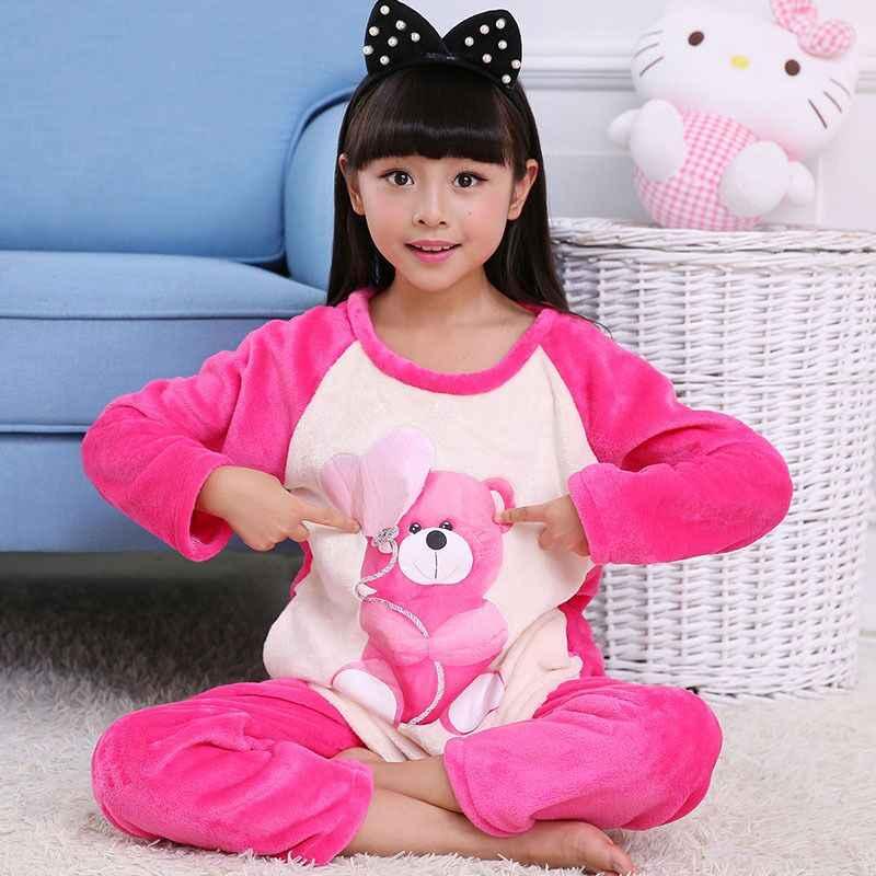 55a3ea7655 Winter Children Fleece Pajamas Warm new Flannel Plush Sleepwear Girls  Loungewear Coral Fleece Kids pijamas Homewear