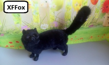 big real life black cat model plastic&furs standing cat doll gift about 32x25cm xf1397