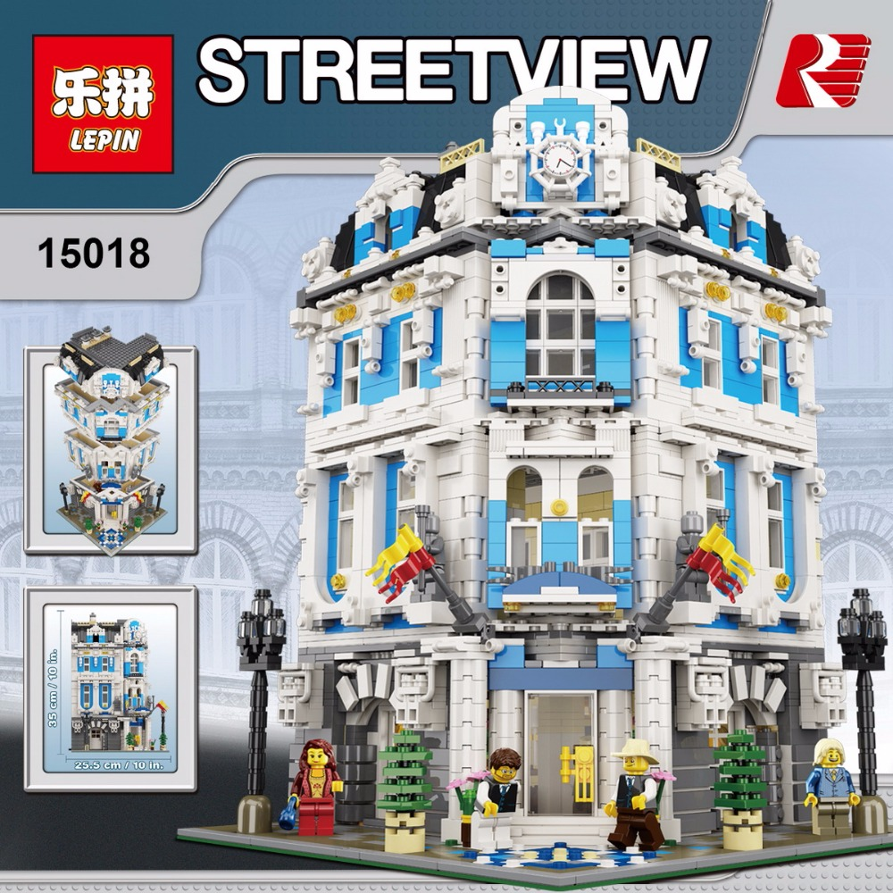 New Lepin 15018 MOC City Series The Sunshine Hotel Set Building Blocks Bricks Educational Toys funny DIY Children Day's Gift laete 15018