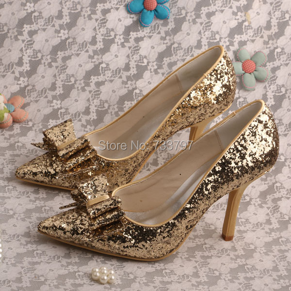 Wedopus MW449 Wholesale and Retail Gold Glitter Shoes Wedding Pointed Toe Bridal Shoes with Bowtie