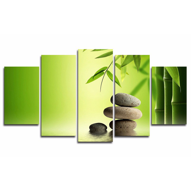 Painting Wall Art Modular Living Room Pictures 5 Panel Bamboo Leaves ...