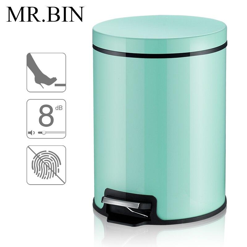 Green Kitchen Bin: MR.BIN Macaron Plus Trash Can Stainless Steel Foot Pedal