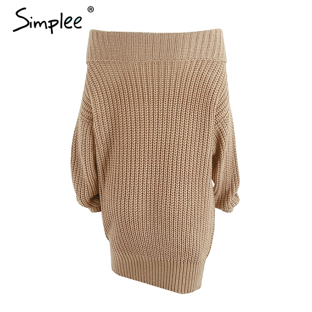 Simplee One shoulder sexy winter dress women Knitted loose oversized sweater dress 2017 Autumn new casual pullovers dress