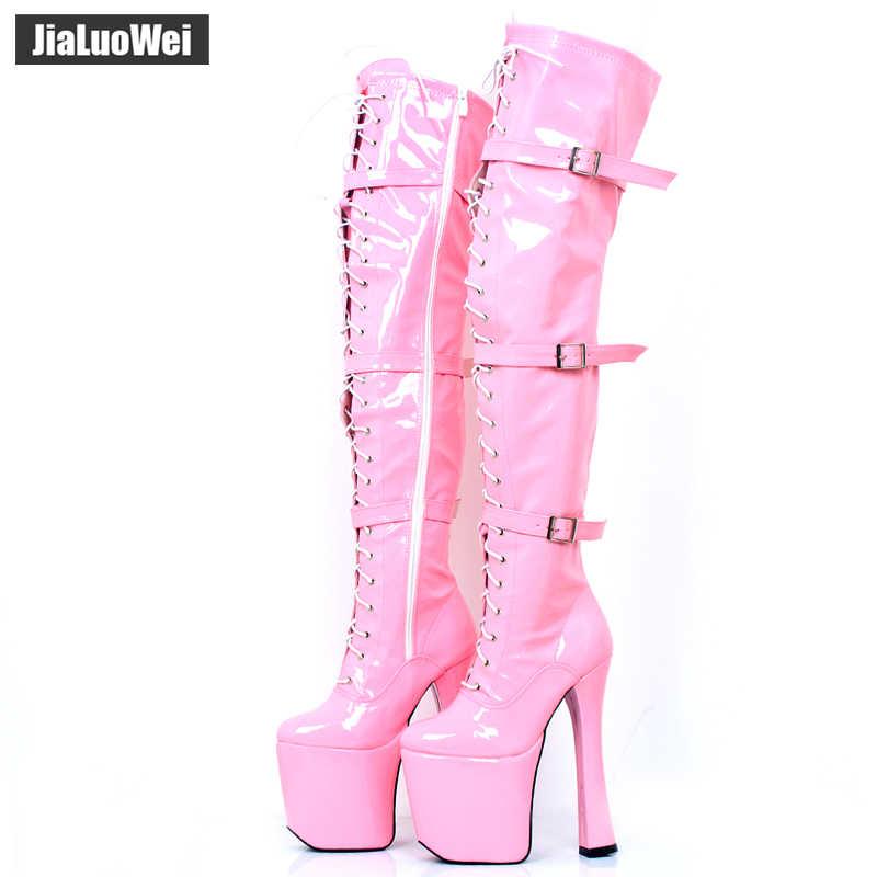 """Jialuowei 7 1/2 """"chunky heel XTC-3028 zasznurować buty na platformie kobiet 20cm obcas Pole buty do tańca na kolana zakolanówki nogi buty"""