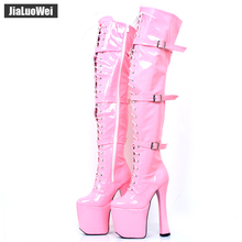 купить 7 1/2 chunky heel and side zipper ELECTRA-3028 Thigh High Platform Boots with three buckle straps and lace-up front дешево