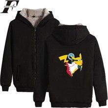 d386ef6d53e LUCKYFRIDAYF 2017 Pokemon GO Pikachu Winter Coat Men Hoodie Zipper Cap Hoodies  Men Women Thick