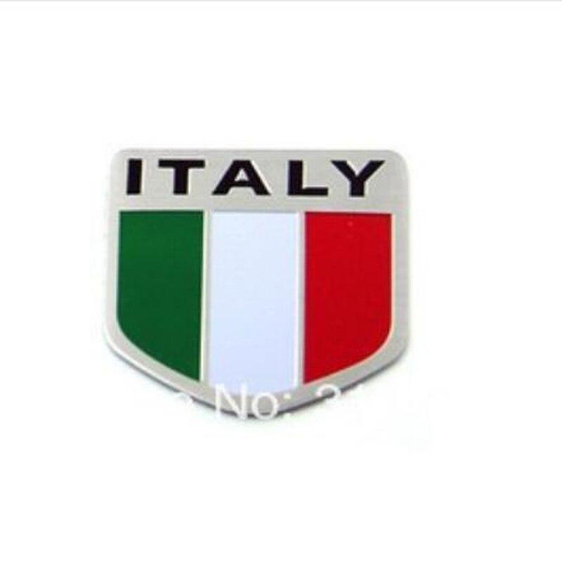 50 pieces lot Wholesale Aluminum ITALY National Flag Emblem Badge Car Decal Sticker Bumper stickers