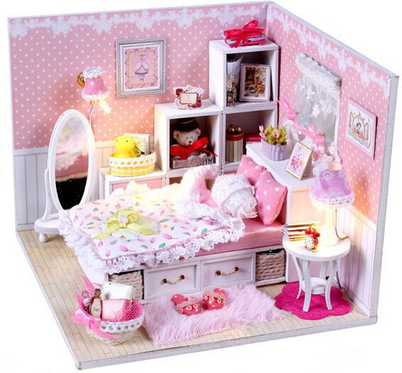 The Princess Room 3D Room Model Doll House DIY Wooden Dollhouse Miniatures LED Light Furniture Kit Light Christmas Birthday Gift